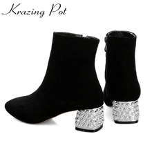 2017 New fashion rhinestone heel diamond square toe metal high quality mixed colors women ankle boots brand winter shoes boots L