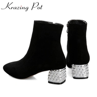 2017 New Fashion Rhinestone Heel Diamond Square Toe Metal High Quality Mixed Colors Women Ankle Boots