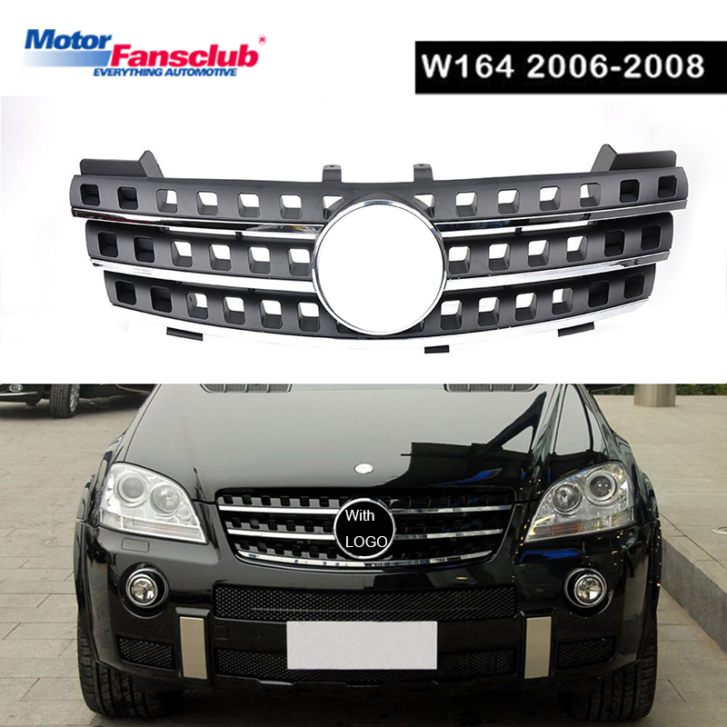 1Pcs Car Racing Grille For Mercedes ML Class W164 Grill 2005-2008 Emblems Mesh Radiator Chrome Front Bumper Lower Modify Parts 1pcs car racing grille for ford focus mk3 st line 2015 2017 grill abs gloss black radiator chrome front bumper upper modify mesh