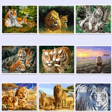 digital oil painting by numbers diy home decoration paint on canvas unique gift craft picture tiger BM30 wq124