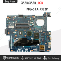 LA 7322P K53B motherboard For ASUS X53B X53BR X53BY K53BR K53BY laptop motherboard LA 7322P Onboard CPU DDR3 Free shipping