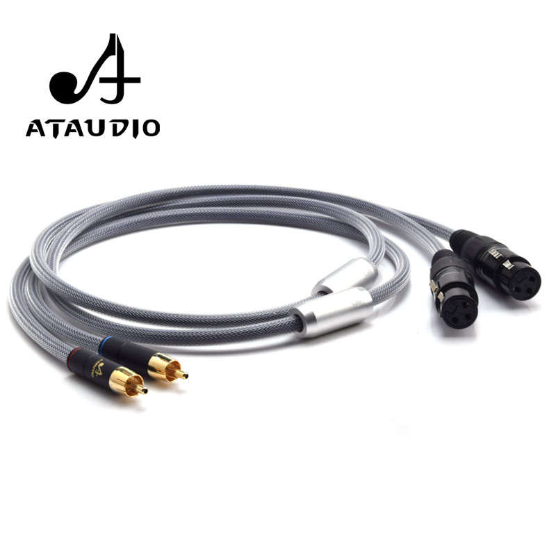 High END Silver plated 2XLR Cable  6N OFC HIFI XLR Male to Female Audio Cable
