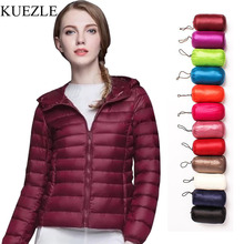 Parka Down jacket women hooded 95% duck down coat Ultra Light warm large size Female Solid Portable stand collar down jackets цены онлайн