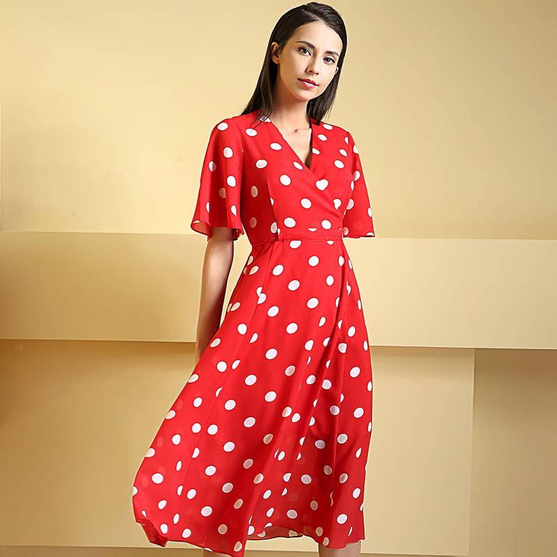 New fashion red scarlet dress 2018 female summer wear V collar waist retro chiffon long
