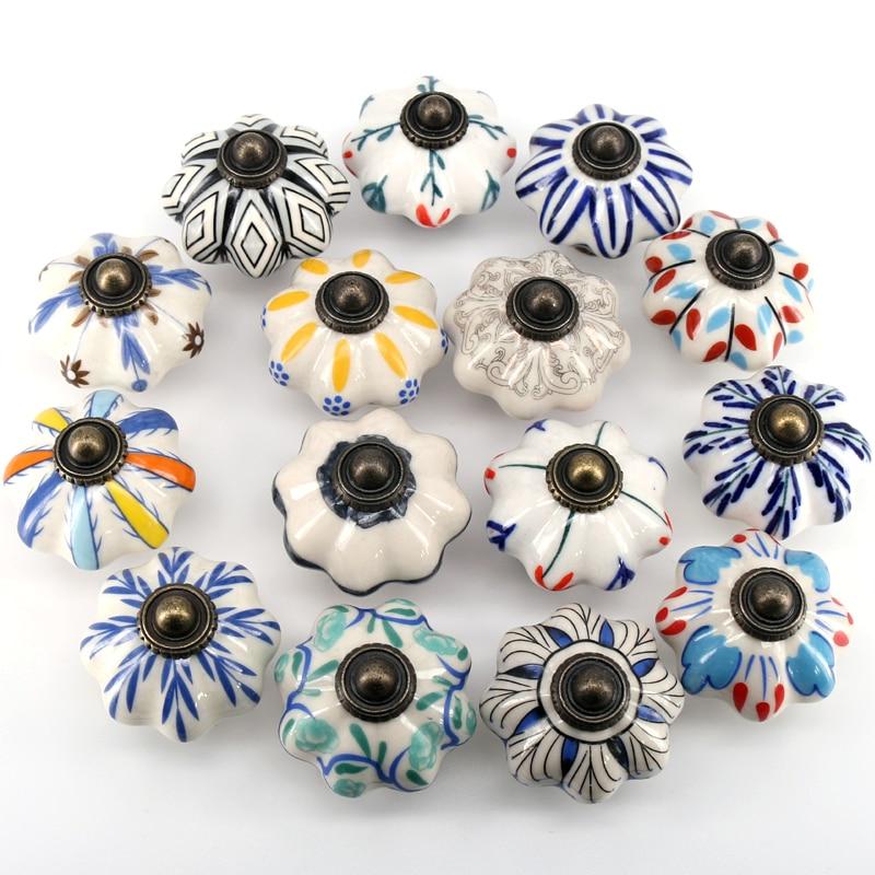 1pc 41MM Dia céramique porte tiroir poignées citrouilles boutons Europe céramique armoire placard poignées tirer tiroir commode boutons tire