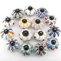 1pc 41MM Dia Ceramic Door Drawer Handles Pumpkins Knobs Europe Ceramic Cabinet Cupboard Handles Pull Drawer Dresser Knobs pulls