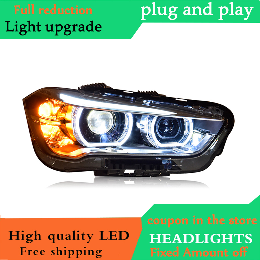 D YL Car Styling for BMW X1 Headlights 2016 2017 for X1 LED Headlight DRL Lens