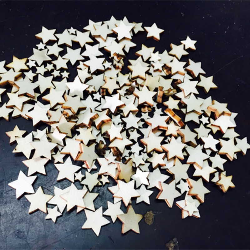 100 pcs Rustic Wooden Five-Pointed Star Wood Decorative Wedding Party Table Scatter Decoration Crafts SS3