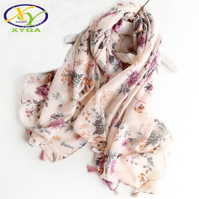 1PC 2018 Srping Women Cotton Long Tassels Scarf Flower Printed Thin Hijab Soft Summer Ladys Pashmina New Viscose Autumn Shawl