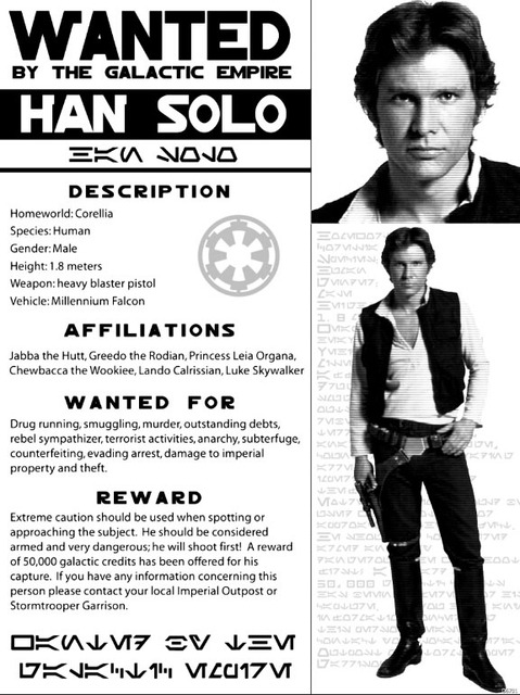 Aliexpress Buy Han Solo Wanted Outlaw Star Wars Criminal Art – Wanted Criminal Poster