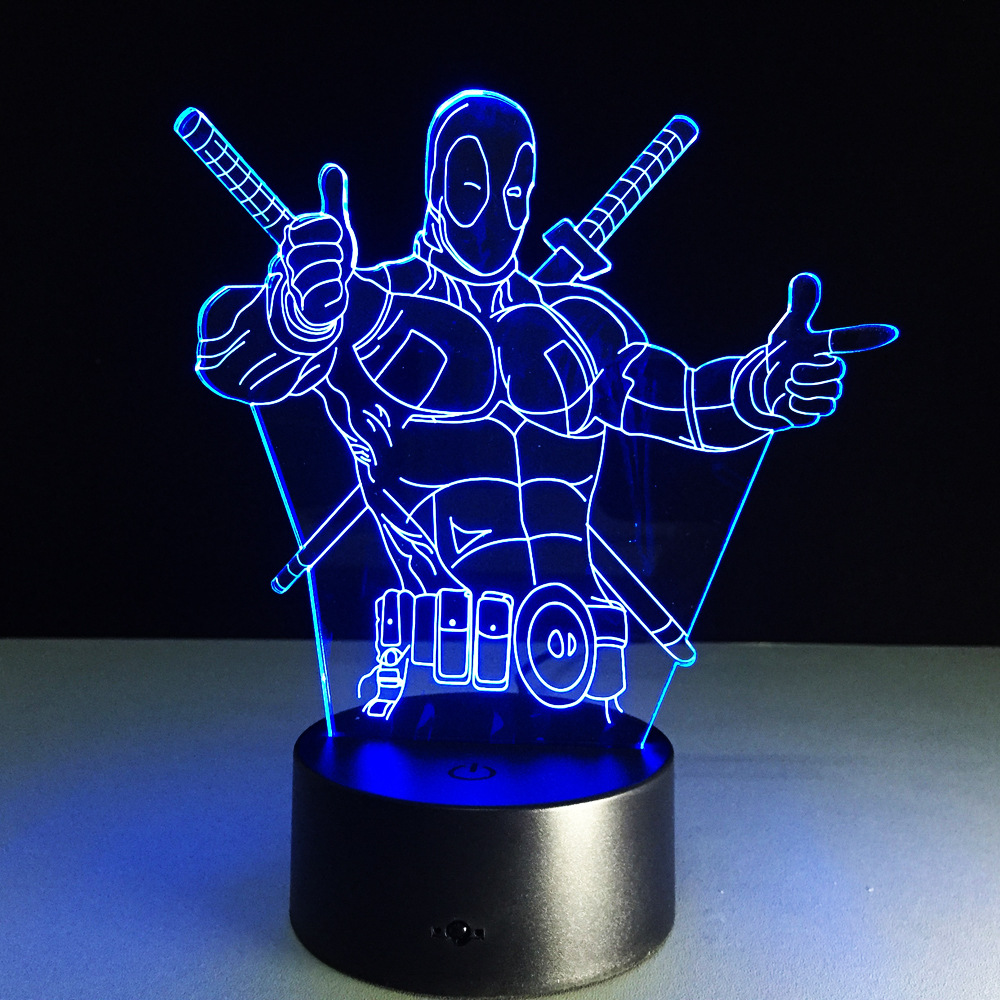 Deadpool Superher novelty toy lamp 7 color changing visual illusion LED light Deadpool toy action figure birthday gift for kid