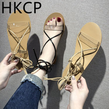 цена на HKCP Strappy sandals for women summer 2019 new flat bottom clip-on transparent peep-toe student strappy sandals C459