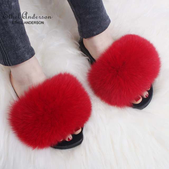 Ethel Anderson Lady Furry Slippers Real Raccoon Fur Slides Summer Casual Flip Flops Good Quality Beach Sandals Plush Shoes
