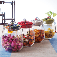 Creative Glass Sealed Kitchen Storage Bottle Multi Function Home Grain Cereal Canvas Cover Transparent Storage Boxes Container