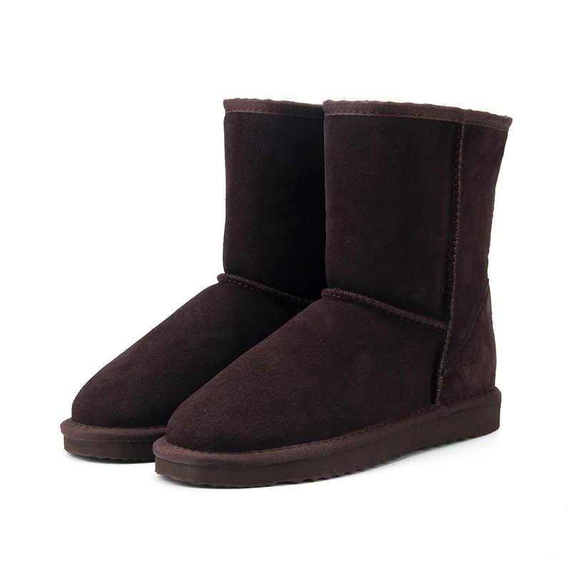 Botas de nieve de lana 100% clásicas de Australia de alta calidad de cuero genuino de piel de vaca para mujer