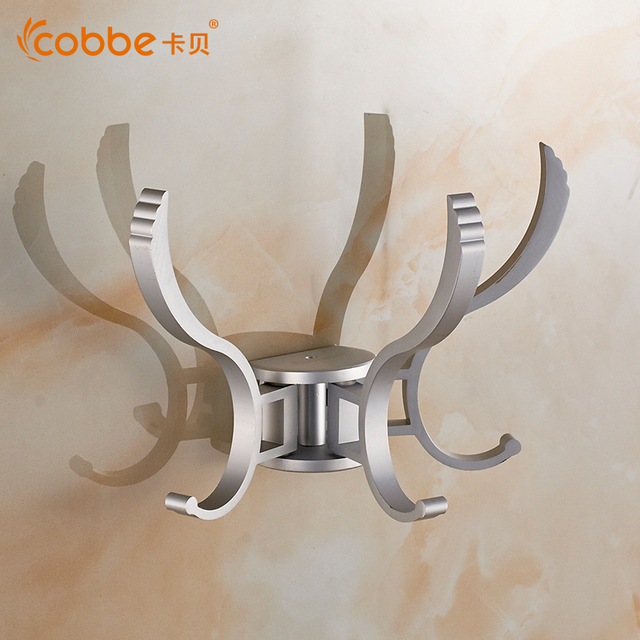 Modern Silver Wall Mounted Robe Hook Aluminum Bathroom Accessories Of Clothes  Hooks Restroom Coat Hanger Wall