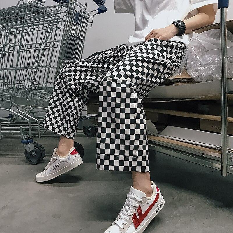 2018 Summer Men's Fashion Punk Style Black And White Lattice Straight Casual Pants Loose Elastic Waist Trousers Plus Size M-XL