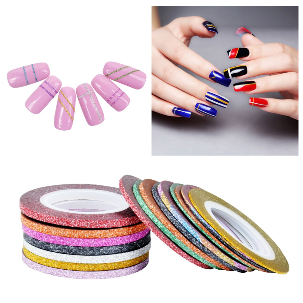 Biutee 10Pcs/lot Mixed Colors Scrub Metal Gold Silver 1mm 2mm 3mm Nail Striping Tape Line For Nails Decorations DTY Nail Decal 14 rolls glitter scrub nail art striping tape line sticker tips diy mixed colors self adhesive decal tools manicure 1mm 2mm 3mm