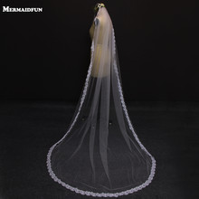 2.5 Meter Vintage Style Cathedral Wedding Veils Long Lace Edge One Layer Wedding Dresses Veil Custom Made Bridal Veil(China)