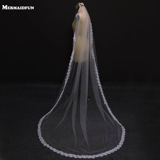 2 5 Meter Vintage Style Cathedral Wedding Veils Long Lace Edge One Layer Dresses Veil Custom