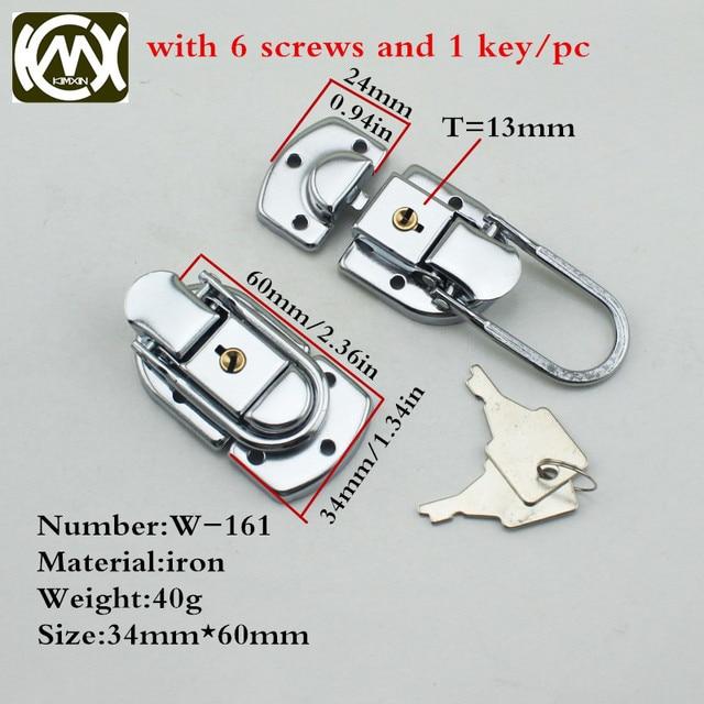 10pc 34*60mm High grade Box buckle Equipmentcasees lock Flightcase with key locks Iron hasp Locking latch Wholesale KMX W 161