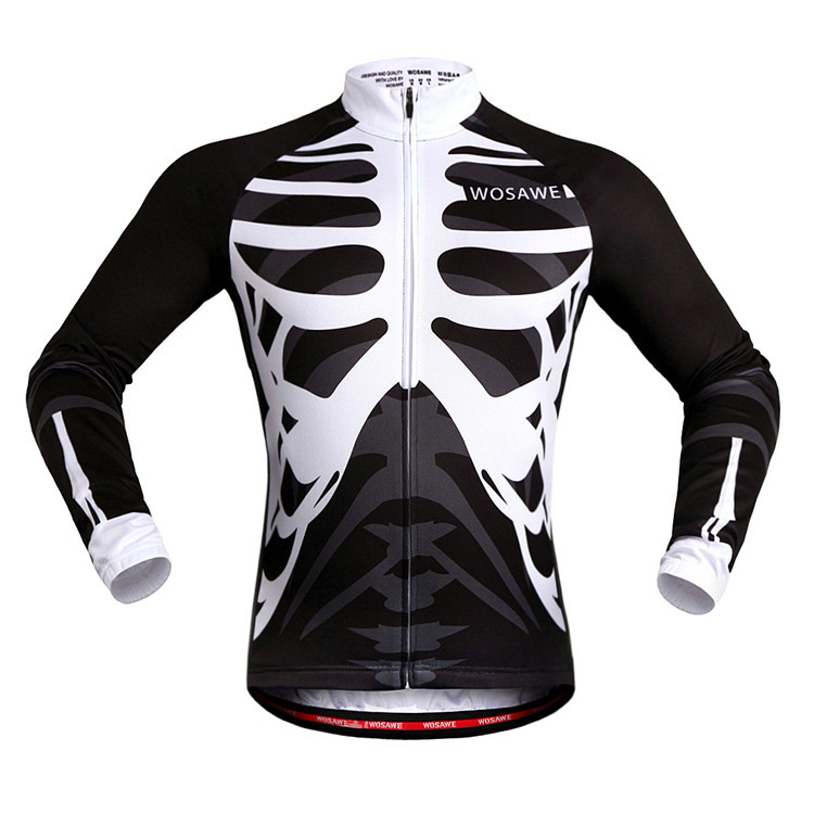 WOSAWE Long Sleeve Bike Wear Cycling Clothing Autumn/ Spring Cycling Jerseys Maillot Roupa MTB Riding Clothes back Anti-stripe
