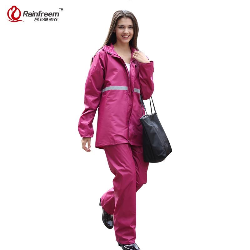 Rainfreem كتيمة المطر النساء / الرجال ملابس ضد المطر طبقة واحدة الدعاوى النساء النارية للماء المطر والعتاد المعطف
