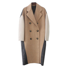 High Quality Womens New woolen Coat Double-sided Cashmere Jacket Color Matching Herringbone Parker Elegant Woolen Ladies