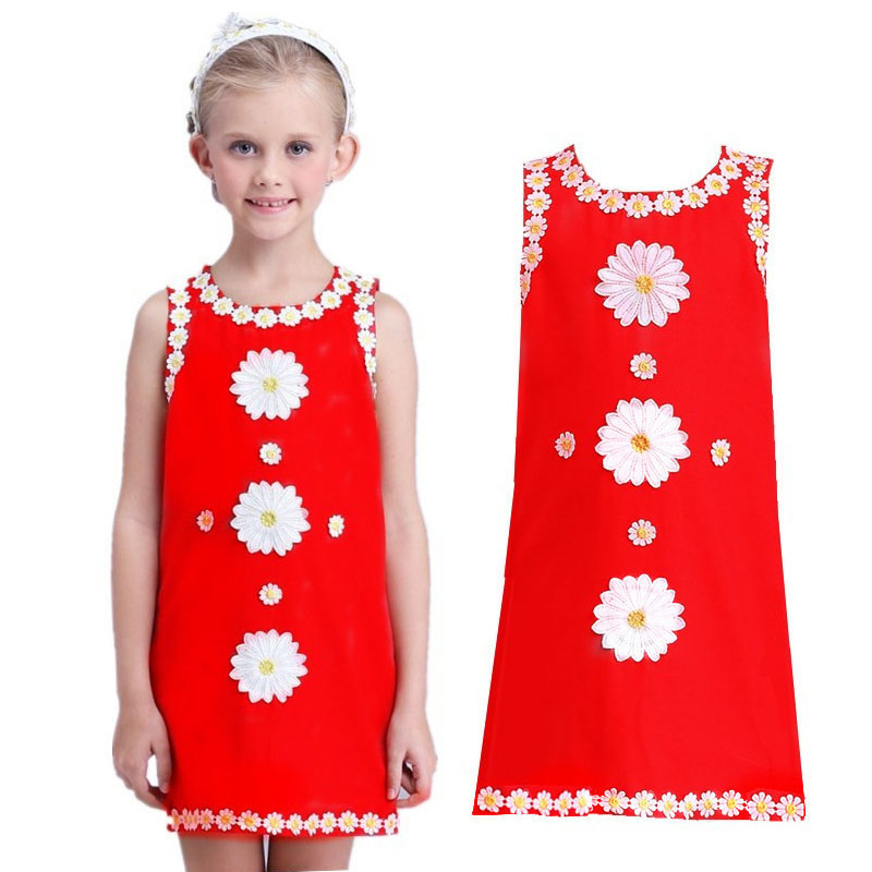 Baby Girl Dress Applique Sleeveless Cotton Dress Red European Style Dress Girls Clothes Casual Kids Dresses 100% real photo brand kids red heart sleeve dress american and european style hollow girls clothes baby girl clothes