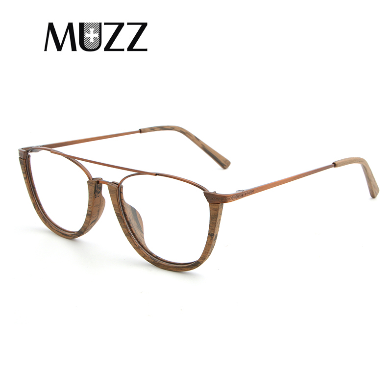 Image 4 - MUZZ Glasses Frame Wood Optical Glasses For Unisex Wooden Temple Frame Semi Rimless Eyeglasses Acetate Frames Men Spectacles-in Women's Eyewear Frames from Apparel Accessories