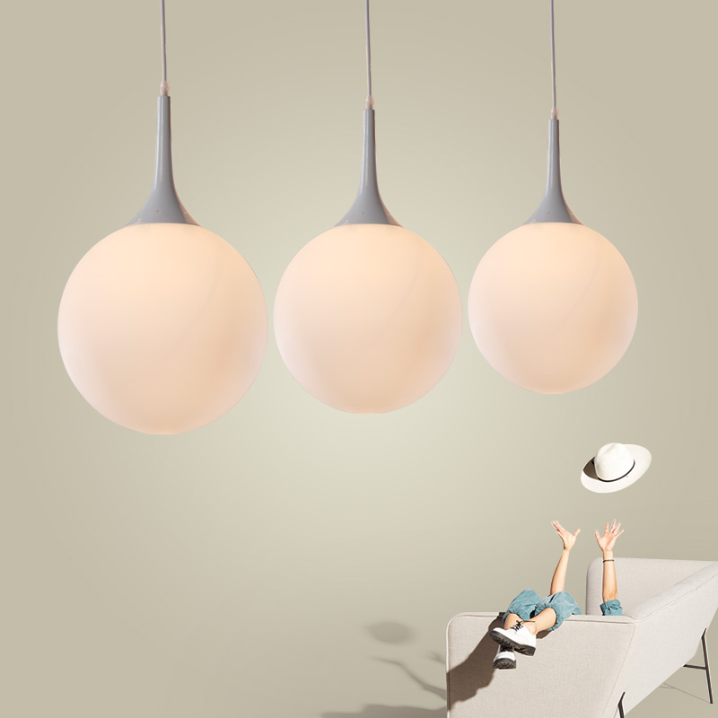 Nordic Simple White Glass Pendant Lamp Modern Fashion Restaurant Bedroom LED Lighting Creative for Bar Coffee Shop Lamp купить