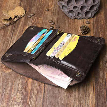 Original Handmade Wrinkle Wallet Leather Genuine Cow Leather Vertical Mens Wallets Retro Money Clips Luxury Short Billfold Purse
