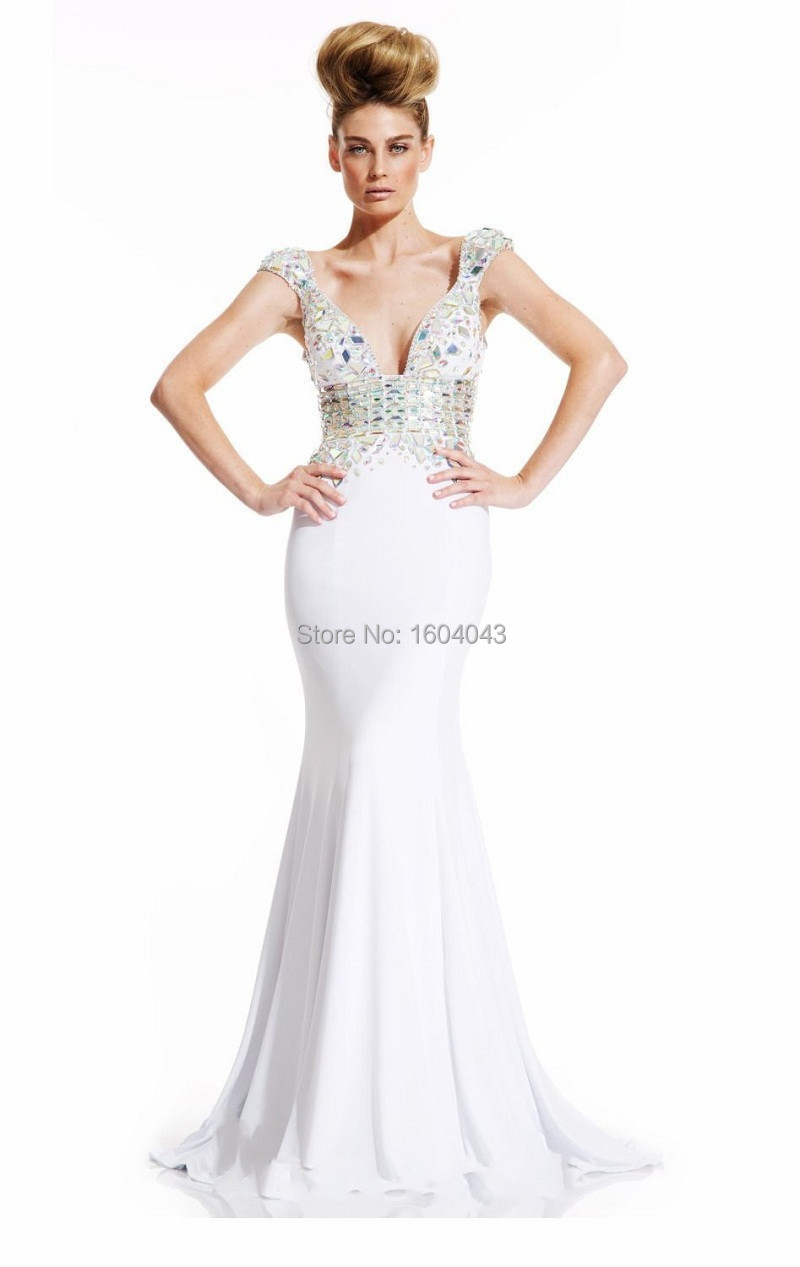 New Fashion Deep V Neck Sexy Sleeveless Long Mermaid Evening Dress 2015 Handmade White Black