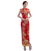 Shanghai Story 2019 new arrival long fashion design Sequins lace embroidered High Split cheongsam dress