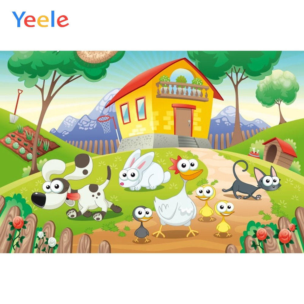 Yeele Vinyl Cartoon Farm Animals House Children Birthday Party Photography Background Baby Photographic Backdrop Photo Studio