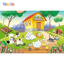 Yeele Vinyl Cartoon Farm Animals House Children Birthday Party Photography Background Baby Photographic Backdrop Photo Studio