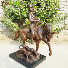 Knight  of medieval Europe style bronze sculpture horse & dog crafts Home Furnishing ornaments