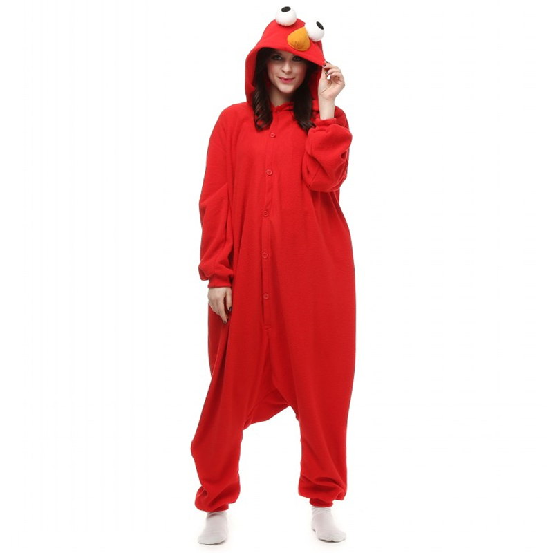 drop shipping 2017 women cosplay onesies for adults sesame red elmo monster adult cosplay halloween costume - Halloween Costumes Elmo