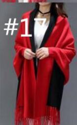 SC2 большой шарф Зимний вязаный пончо женский однотонный дизайнерский плащ женский длинный рукав летучая мышь пальто винтажная шаль - Цвет: Red With Black