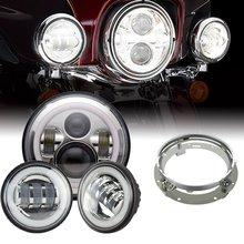 ไฟหน้า7นิ้วLED DRLสีขาว,4.5นิ้วHaloไฟ,อะแดปเตอร์แหวนสำหรับHarley Touring Electra GlideถนนKing Street Glide