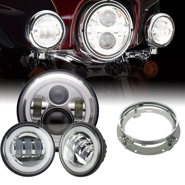 7inch LED Headlight white DRL, 4.5inch Halo Fog Lights , Adapter Ring for Harley Touring Electra Glide Road King Street Glide