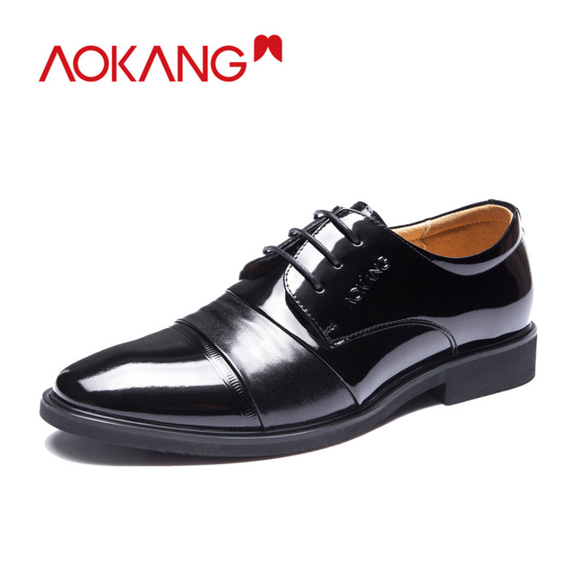 Aokang 2018 new arrival England designer Men's leather flat shoes casual Dress Shoes  office male shoes wholesale derby shoes