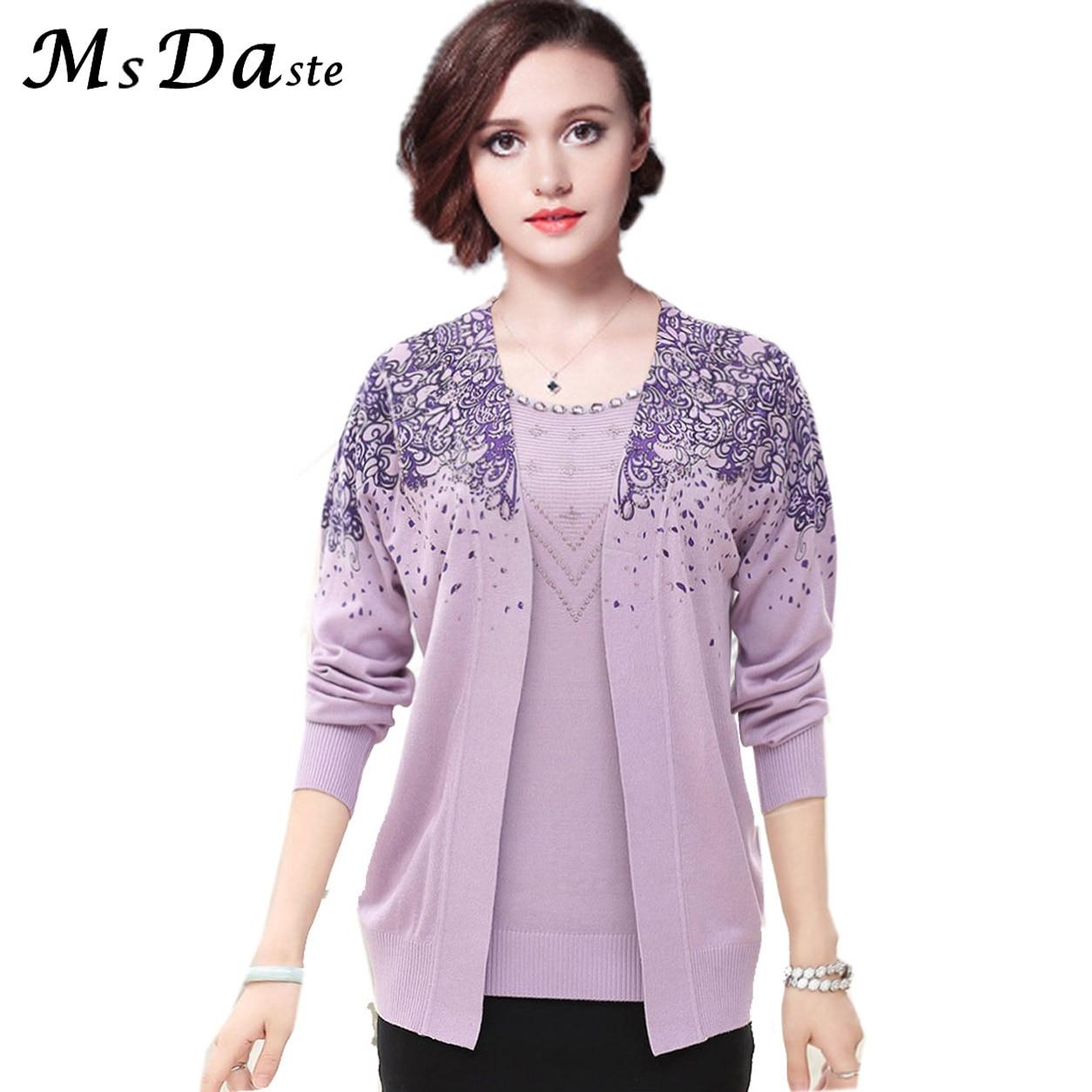 2018 Autumn Set 2 Pieces Women Sweaters Tops Floral Tee Shirt + Blouse Suits Winter Pullovers Pull Femme Plus Size M~3XL 9 Color