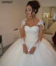 SERMENT Wedding Dress Word Shoulder Three-dimensional Flower Lace Big Tail