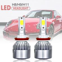 цена на uto Car H11 H9 H8 COB LED Headlight 80W 8000LM Car LED Headlights Bulb Fog Light 6000K 12V