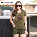 Brand Women Military Green Tee Shirt Lady Summer Tops t-shirt Cotton Large Size Fashion Print shirt Women tshirt GS-8503A