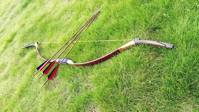 US $56 94 15% OFF|Chinese handmadeTraditional Brown Longbow Mongolian Bow  20 60lb longbow achery+3 bamboo longbow arrows-in Bow & Arrow from Sports &