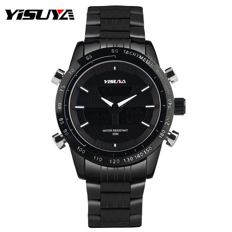 YISUYA Men Watches Sport Watch LED Waterproof Chronograph Wristwatch Japan Move Fashion Casual Army Day Date Pilot Male Clock