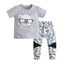 2pcs set 2017 New summer style Cotton Baby Boy Casual Short sleevesT-shirt+ Pants baby clothing sets baby boy clothes все цены