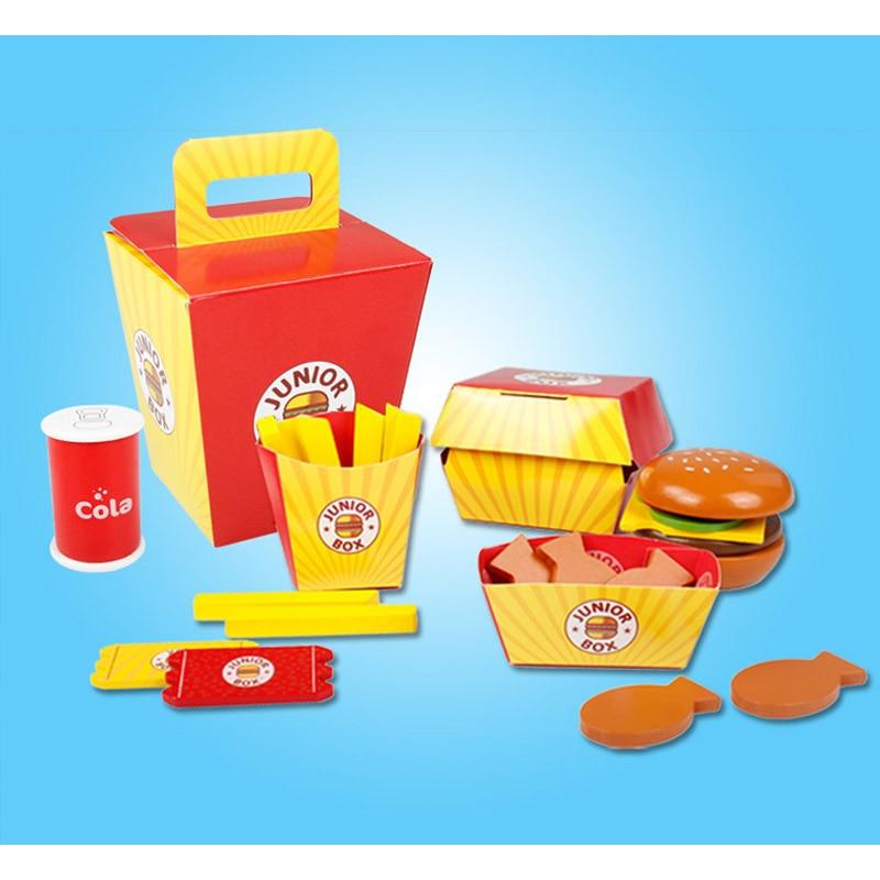 8PCS Plastic Children Kids Hamburger Chips Cola Food Pretend Role Play Set Toy·